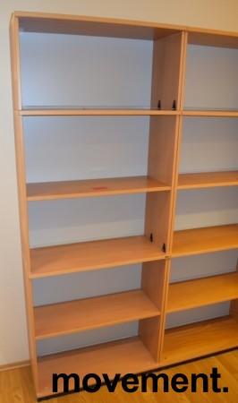 Høy bokhylle E-serie i bøk fra Kinnarps, 5permhøyder / 5H, 203cm høyde, pent brukt bilde 2