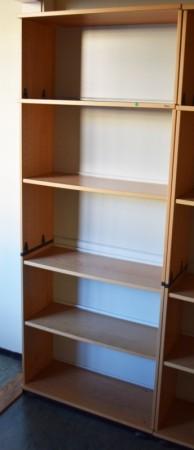 Høy bokhylle E-serie i bøk fra Kinnarps, 5permhøyder / 5H, 203cm høyde, pent brukt bilde 4