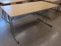 Klappbord / sammenleggbart kantinebord / kursbord i bjerk / krom, 140x70cm, pent brukt