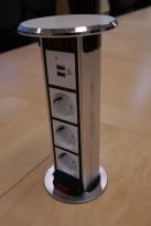 Pop-up strømsøyle nedfelling i bordplate, for møtebord, kjøkkenbenk e.l., pent brukt