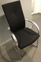 Konferansestol i sort / aluminium, Fritz Hansen, Independence, Design: Burkhard Vogtherr, pent brukt