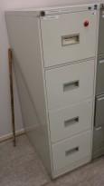 Arkivskap fra Høvik Stål, 4skuffers, 41,5cm bredde, høyde 131,5cm, lys grå, retrostil, pent brukt