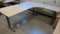 Skrivebord / hjørneløsning med elektrisk hevsenk fra EFG i bjerk, 200x180, høyreløsning, pent brukt