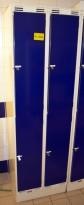 Garderobeskap i stål, 2 rom i bredde, 2 rom i høyde fra Sarpsborg Metall, 60cm bredde, pent brukt