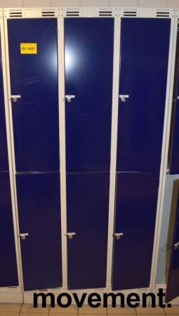 Garderobeskap i stål, 3 rom i bredde, 2 rom i høyde fra Sarpsborg Metall, 90cm bredde, pent brukt bilde 1