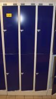Garderobeskap i stål, 3 rom i bredde, 2 rom i høyde fra Sarpsborg Metall, 90cm bredde, pent brukt