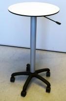 Ståbord i hvitt / grått / sort, Ø=60, med justerbar høyde (gasslift) 81-105cm, pent brukt