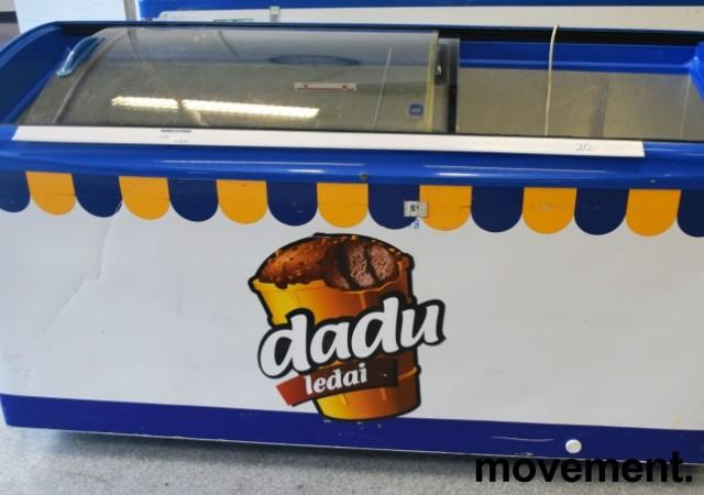 Fryseboks for iskrem/frossenvarer, 170cm bredde, skyvedører i glass i toppen fra Elcold, Dadu Ledai, pent brukt bilde 1