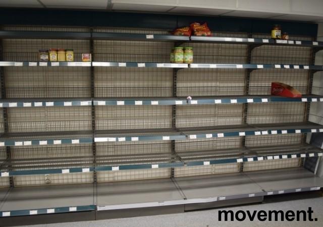 Stålhyller / lagerhyller / butikkhyller, 24 gavler L-fot og 150+ hylleplater, pent brukt bilde 6