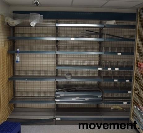 Stålhyller / lagerhyller / butikkhyller, 24 gavler L-fot og 150+ hylleplater, pent brukt bilde 4