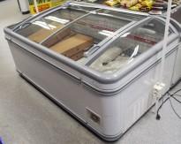 Fryseboks for iskrem/frossenvarer fra AHT, Miami serie, 185cm bredde, skyvedører i glass i toppen, pent brukt