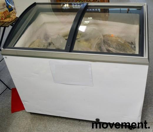 Fryseboks for iskrem/frossenvarer, 105cm bredde, skyvedører i glass i toppen fra Caravell, pent brukt bilde 1
