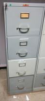Arkivskap fra Høvik Stål, 4skuffers, 41,5cm bredde, høyde 131,5cm, grå, retrostil, pent brukt
