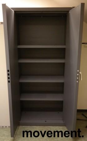 Stort sikkerhetsskap / låsbart skap i mørkt grått, 100cm bredde, 200cm høyde, pent brukt bilde 2