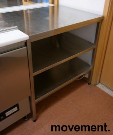 Liten arbeidsbenk / sidebord / utstyrsbord i rustfritt stål, 86cm bredde, 70cm dybde, pent brukt