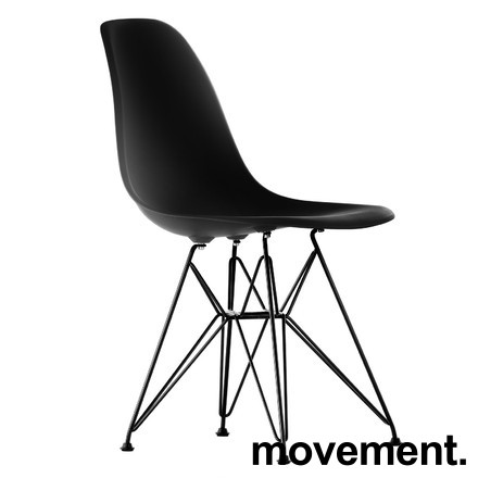 Vitra DSR designstoler i Deep Black (Ny farge) / ben i sortlakkert metall, Design: Charles & Ray Eames, NY SITTEHØYDE, NY