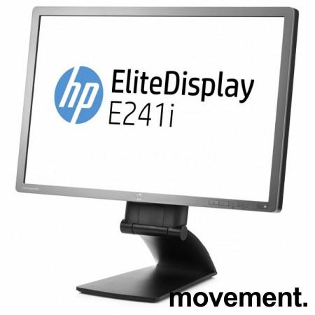 Flatskjerm til PC: HP Elitedisplay E241i, LED 24toms, 1920x1200, DP/DVI/VGA/USB, tilt, pent brukt