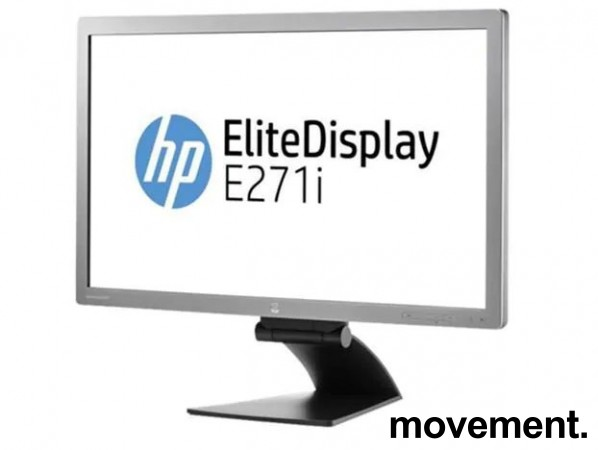 Flatskjerm til PC: HP Elitedisplay E271i, LED 27toms, 1920x1080 Full HD, DP/DVI/VGA/USB, tilt, pent brukt