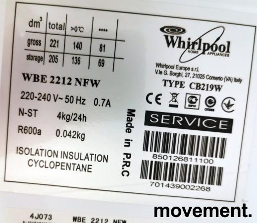 Kjøleskap/kombiskap fra Whirlpool i hvitt, 54,5cm b, 166cm h, modell WBE2212NFW, pent brukt bilde 3