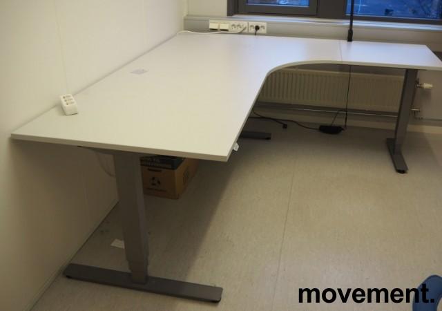 Skrivebord / hjørneløsning med elektrisk hevsenk fra EFG i lys grå, 200x180, høyreløsning, pent brukt bilde 1