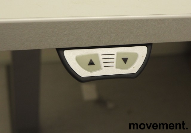 Skrivebord / hjørneløsning med elektrisk hevsenk fra EFG i lys grå, 200x180, høyreløsning, pent brukt bilde 3
