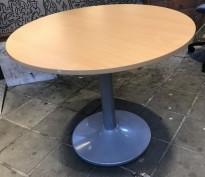 Rundt møtebord / kantinebord i bøk laminat / grå, Ø=90cm, H=73cm, pent brukt