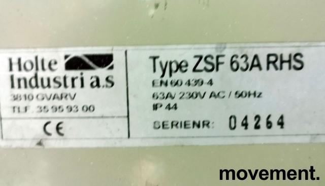 Undersentral / Byggestrømsskap 63A 230V 3fas med jordfeilbryter fra Holte Industri, PENT BRUKT bilde 4