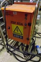 Undersentral / Byggestrømsskap 63A 230V 3fas med jordfeilbryter fra Holte Industri, PENT BRUKT
