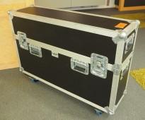 Flightcase / transportkasse på hjul, øvre del kan tas av, 110x32x82cm, pent brukt