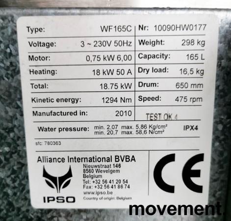 Industrivaskemaskin IPSO WF165C, 3fas 230Volt 18,75kW, 165liters kapasitet, pent brukt, 2010-modell bilde 4