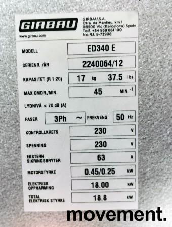 Industritørketrommel Girbau ED340E, 3fas 230Volt 18,8kW, 340L kapasitet, pent brukt, 2012-modell bilde 4