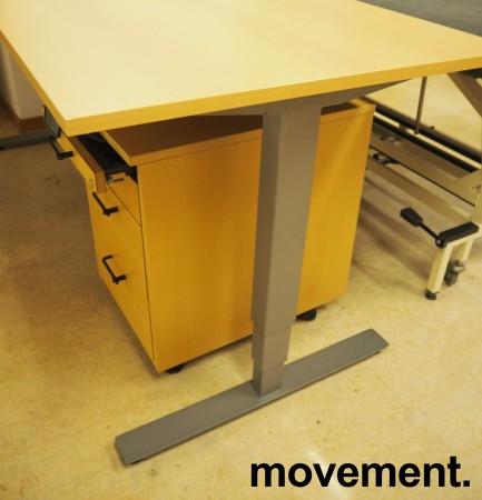 Skrivebord med elektrisk hevsenk i bøk laminat / grått understell fra EFG, 200x80cm, pent brukt 2016-modell bilde 2