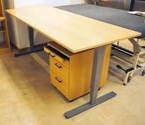 Skrivebord med elektrisk hevsenk i bøk laminat / grått understell fra EFG, 200x80cm, pent brukt 2016-modell