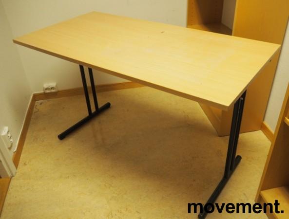 Konferansebord / klappbord i bøk laminat understell i sort, 120x60cm bordplate, pent brukt bilde 1