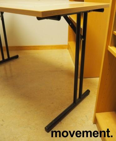 Konferansebord / klappbord i bøk laminat understell i sort, 120x60cm bordplate, pent brukt bilde 2