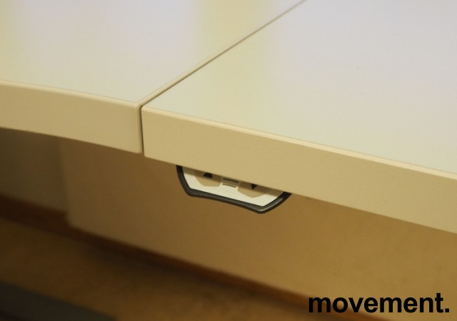 Skrivebord / hjørneløsning med elektrisk hevsenk fra EFG i lys grå, 200x180, høyreløsning, OBS! Skade i plate bilde 3