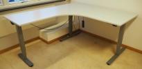 Skrivebord / hjørneløsning med elektrisk hevsenk fra EFG i lys grå, 160x180, venstreløsning, pent brukt