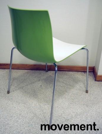 Arper Catifa 46, stablebar design-stol i hvit / grønn plast / krom, pent brukt bilde 2
