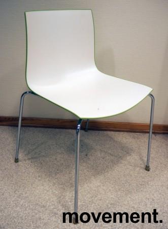 Arper Catifa 46, stablebar design-stol i hvit / grønn plast / krom, pent brukt bilde 1
