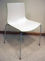 Arper Catifa 46, stablebar design-stol i hvit / grønn plast / krom, pent brukt