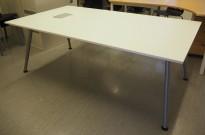 Møtebord / konferansebord fra IKEA, Galant i hvitt med kabelluke, 195x110cm, pent brukt