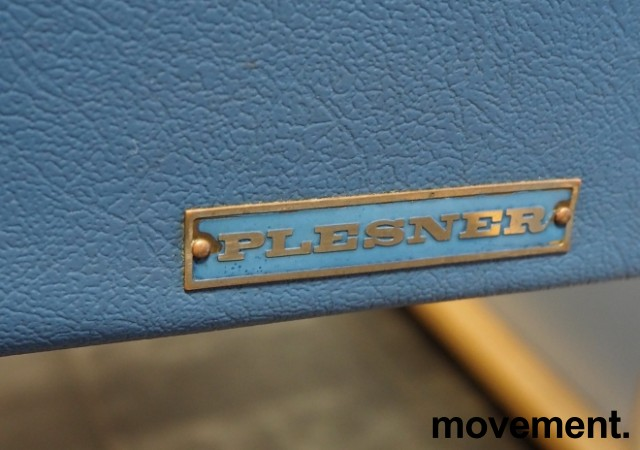 Legebenk / behandlingsbenk trukket i blå skai fra Plesner, 200x65cm, brukt bilde 2