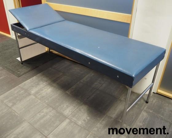Legebenk / behandlingsbenk trukket i blå skai fra Plesner, 200x65cm, brukt bilde 1