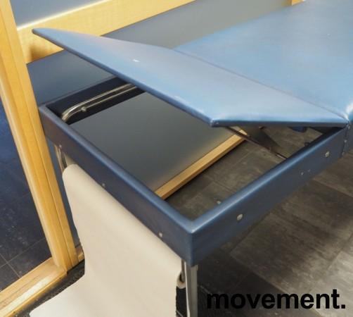 Legebenk / behandlingsbenk trukket i blå skai fra Plesner, 200x65cm, brukt bilde 3