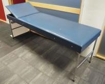 Legebenk / behandlingsbenk trukket i blå skai fra Plesner, 200x65cm, brukt