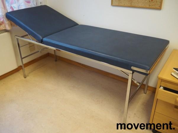 Legebenk / behandlingsbenk trukket i blå skai, 200x70cm, brukt bilde 1