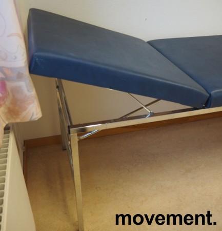 Legebenk / behandlingsbenk trukket i blå skai, 200x70cm, brukt bilde 2