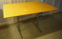 Kantinebord i bjerk / grålakkert metall fra Zeta Furniture, 120x80cm, brukt med noe slitasje på plater