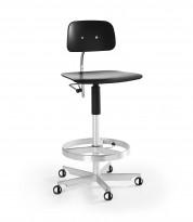 Kontorstol / arbeidsstol / barstol i sort finer / aluminium fra Engelbrechts, modell Kevi 2533, sittehøyde 71-83cm, fotring, pent brukt
