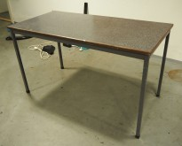 Skrivebord / spisebord i respatex / grålakkert metall, retro / vintage, 125x62cm, pent brukt